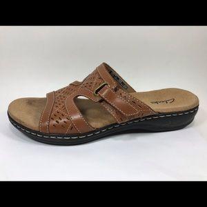Clarks Brown Leather Slide Sandals Sz 8.5M